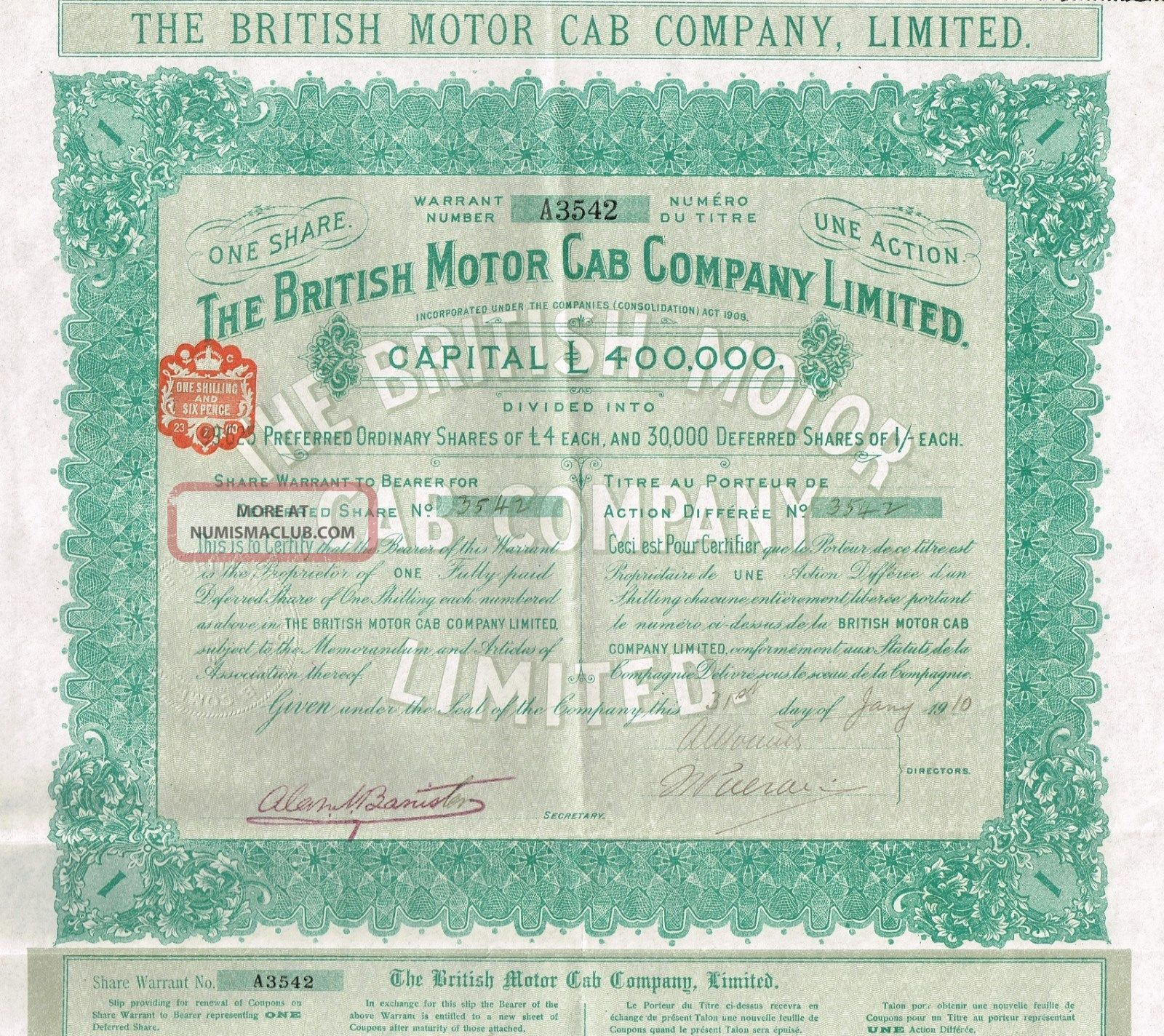 England The British Motor Cab Company Stock Certificate 1910 World photo