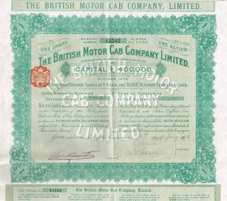 England The British Motor Cab Company Stock Certificate 1910 photo