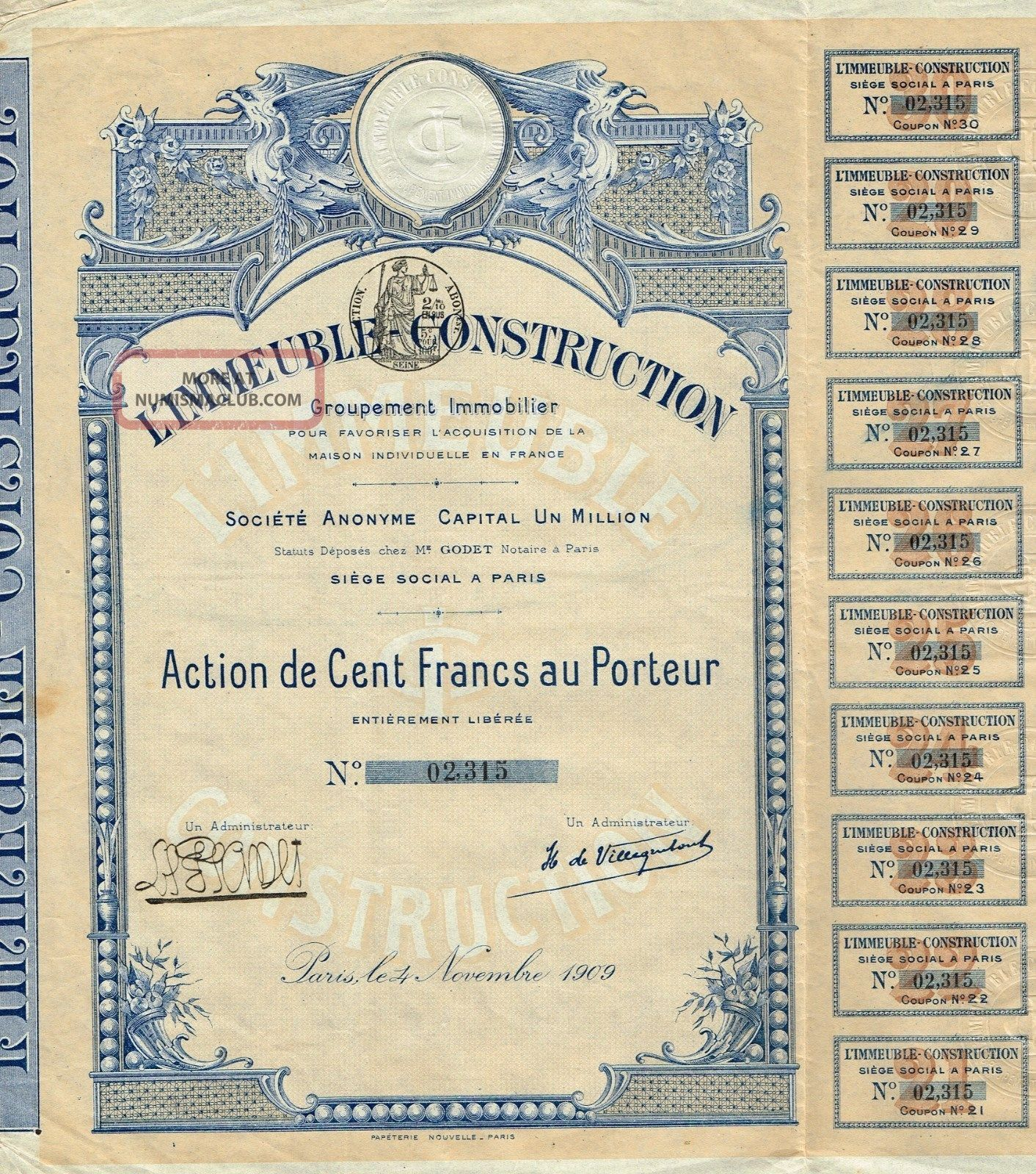 France Building Construction Real Estate Group Stock Certificate 1909 World photo