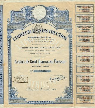 France Building Construction Real Estate Group Stock Certificate 1909 photo
