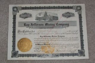 Ray Jefferson Mining Company Stock Certificate 1913 photo