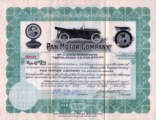 Pan Motor Company 1918 Stock Certificate 60899 - Famous Fraud photo
