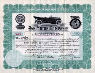 Pan Motor Company 1918 Stock Certificate 60886 - Famous Fraud photo