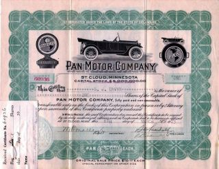 Pan Motor Company 1918 Stock Certificate 60936 - Famous Fraud photo