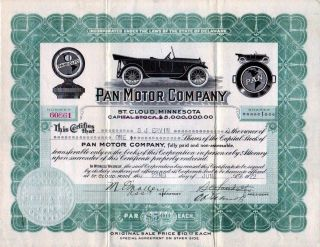 Pan Motor Company 1918 Stock Certificate 60861 - Famous Fraud photo