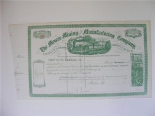 Mercer Mining & Manuf.  Stock Cert.  W/ Train Unissued photo