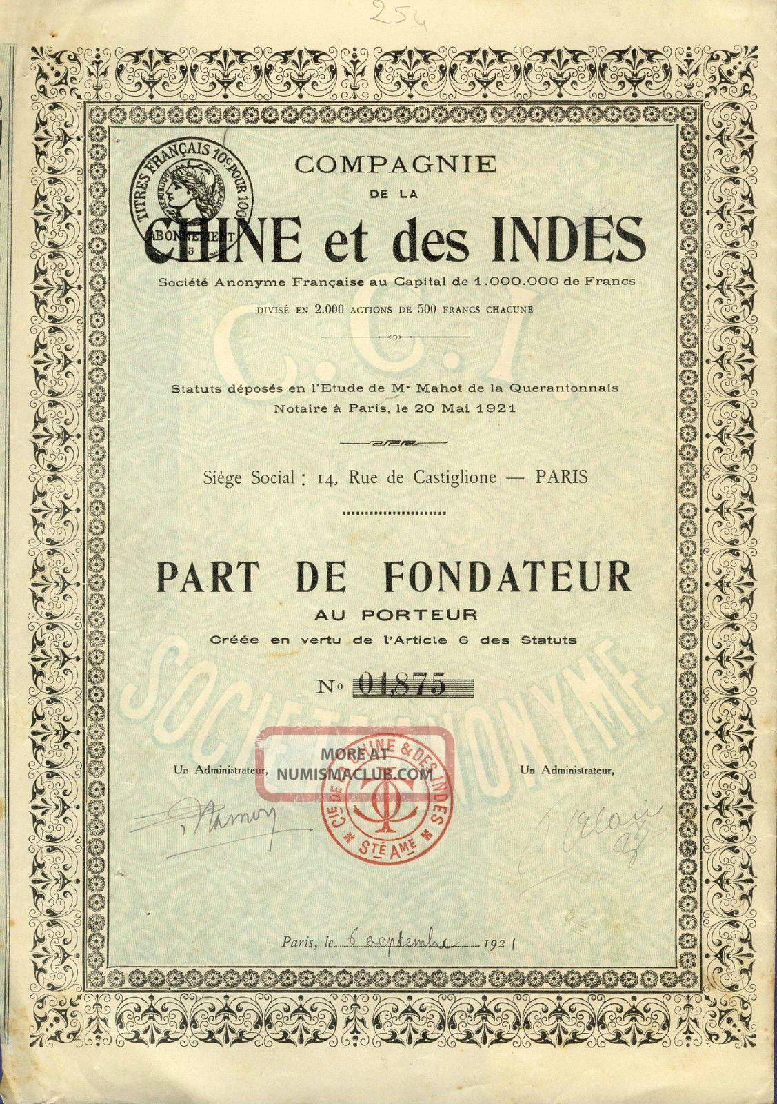 Share Certificate Stock Chine & Indes Cie China & Indies Cy Paris Action 1921 World photo