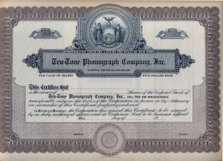 Tru - Tone Phonograph Company Stock Certificate photo
