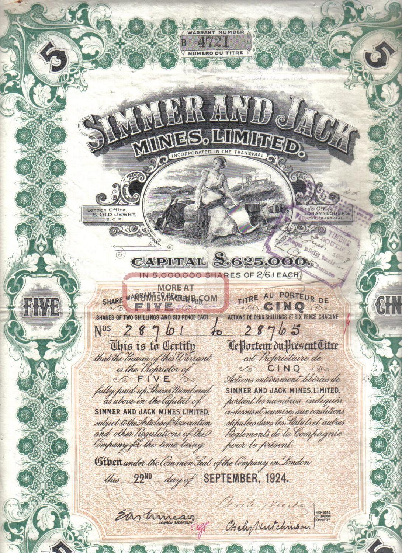 Oiginal South Africa 1924 Bond Gold Simmer & Jack Mines Company 5 Shares Deco World photo