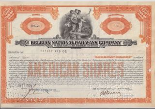 Belgian National Railways Company. . . . . . . .  1929 American Share Certificate photo