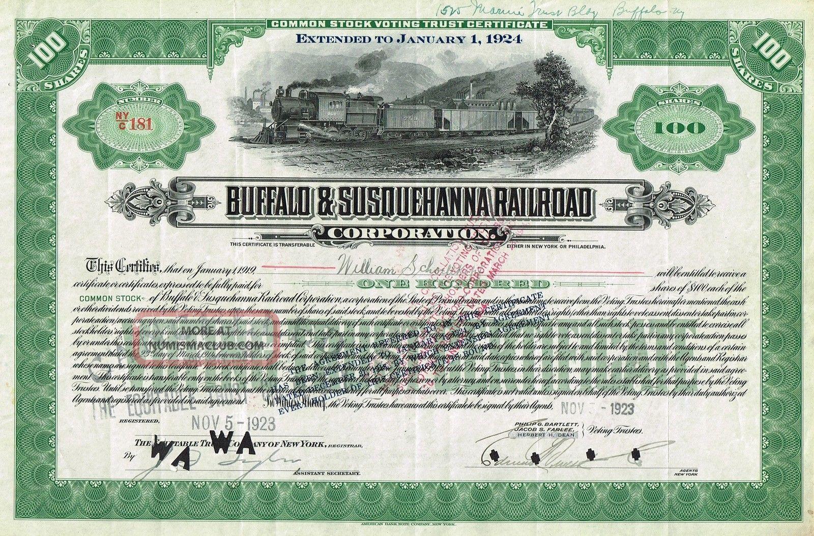 Usa Buffalo & Susquehanna Railroad Corp Stock Certificate Common World photo