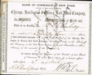 Usa Chicago Burlington Quincy Railroad Certificate 1861 photo