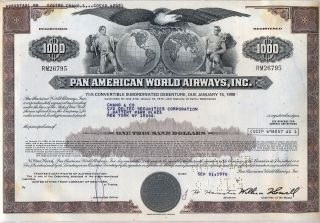 Pan American World Airways Bond Stock Certificate Airline photo
