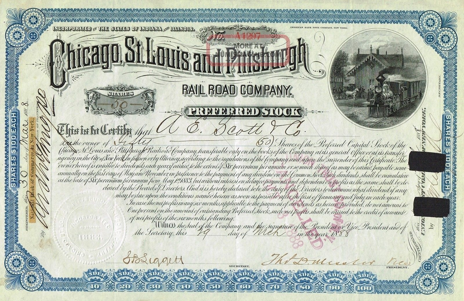 Usa Chicago St.  Louis & Pittsburgh Railroad Stock Certificate 1888 Preferred St World photo
