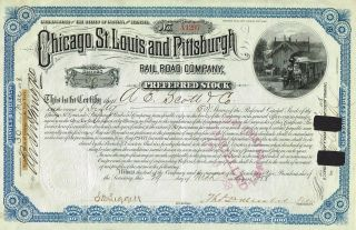 Usa Chicago St.  Louis & Pittsburgh Railroad Stock Certificate 1888 Preferred St photo