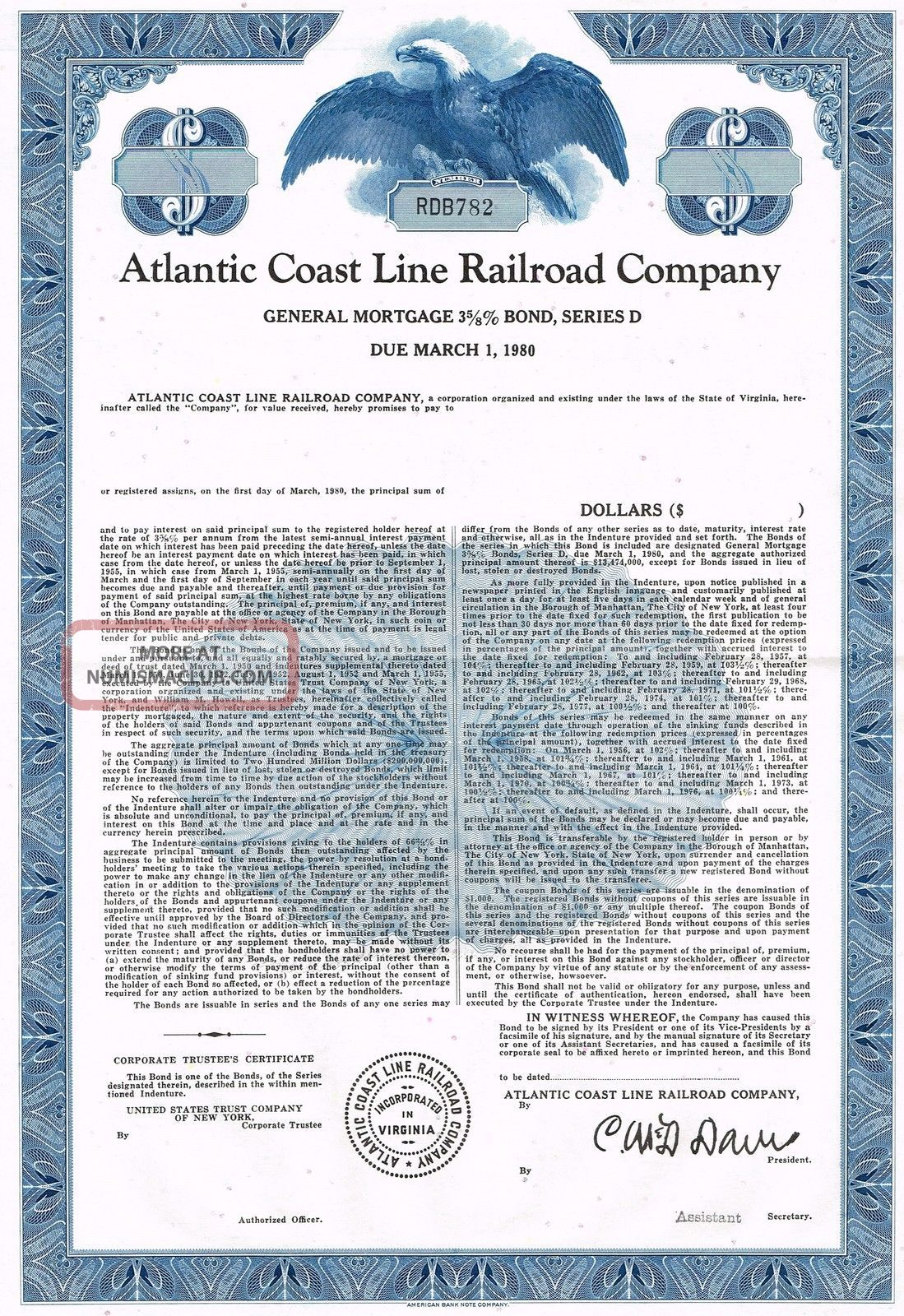 Usa Atlantic Coast Line Railroad Company Bond Stock Certificate World photo