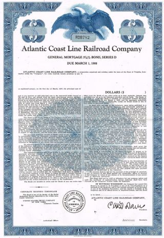 Usa Atlantic Coast Line Railroad Company Bond Stock Certificate photo