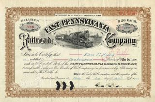 Usa East Pennsylvania Railroad Company Stock Certificate 1910 photo