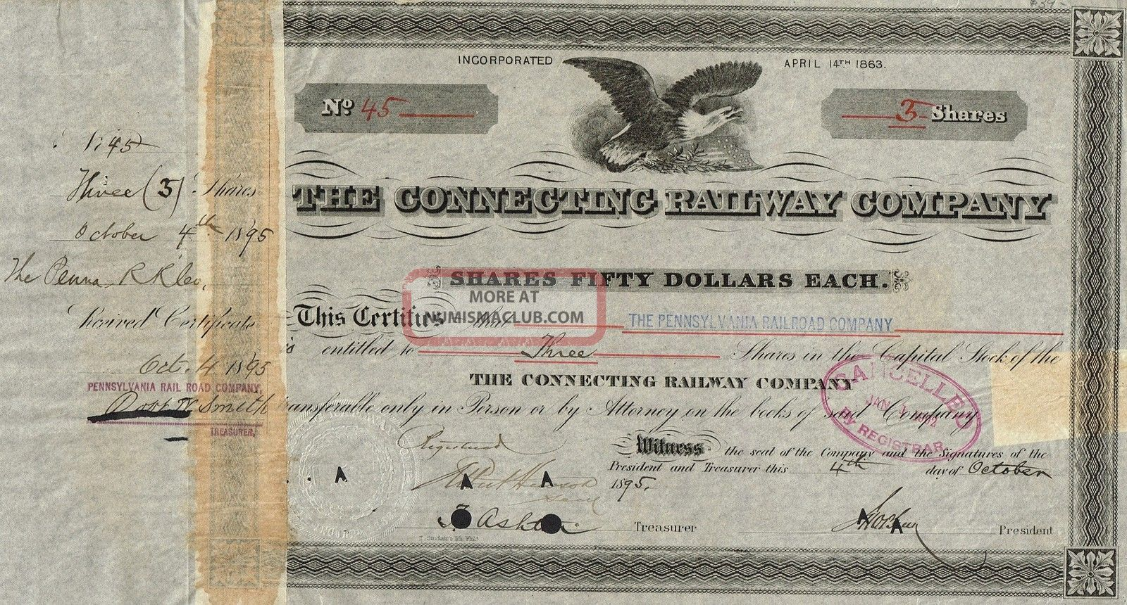 Usa Connecting Railway Company Stock Certificate 1895 World photo