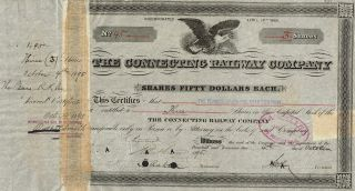 Usa Connecting Railway Company Stock Certificate 1895 photo