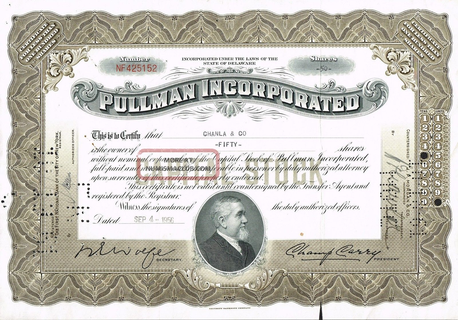 Usa Pullman Incorporated Stock Certificate World photo