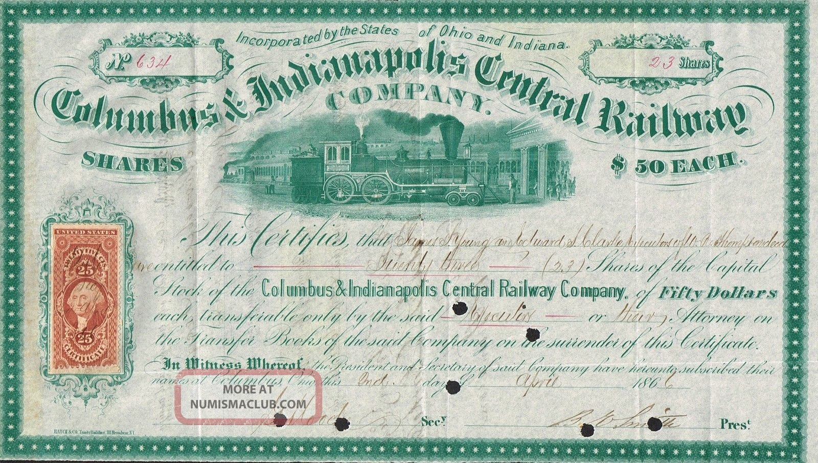 Usa Columbus & Indianapolis Central Railway Company Stock Certificate 1866 World photo