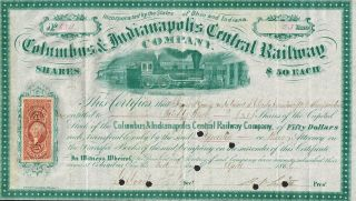 Usa Columbus & Indianapolis Central Railway Company Stock Certificate 1866 photo