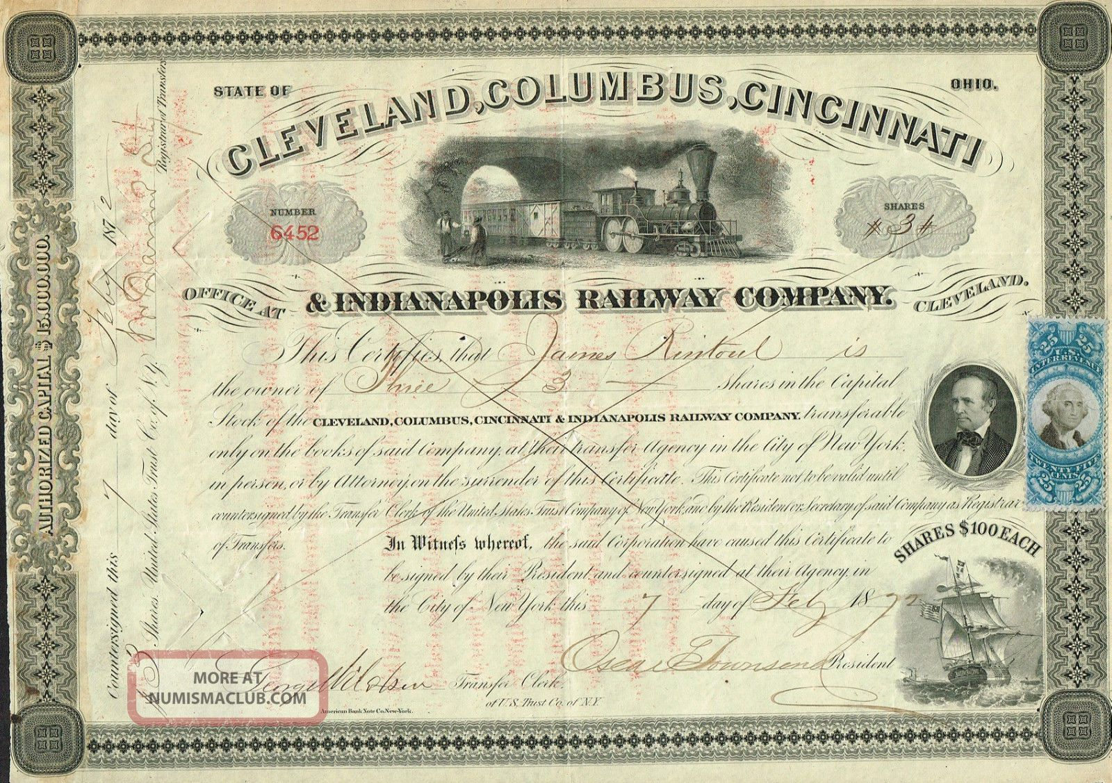 Usa Cleveland Columbus Cincinnati & Indianapolis Railway Stock Certificate 1872 World photo