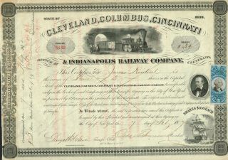 Usa Cleveland Columbus Cincinnati & Indianapolis Railway Stock Certificate 1872 photo