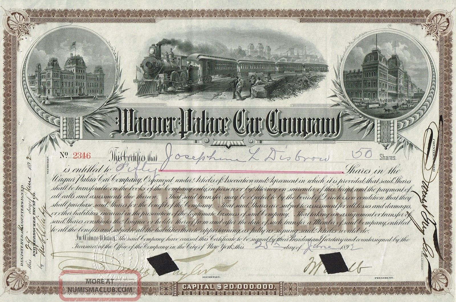 Usa Wagner Palace Car Company Stock Certificate 1892 World photo