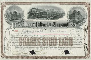 Usa Wagner Palace Car Company Stock Certificate 1892 photo