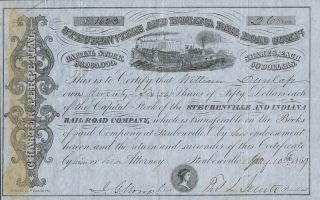 Usa Stubenville & Indiana Railroad Company Stock Certificate 1859 photo