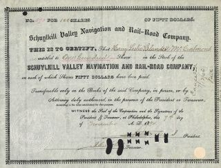 Usa Schuylkill Valley Navigation & Railroad Company Stock Certificate 1894 photo