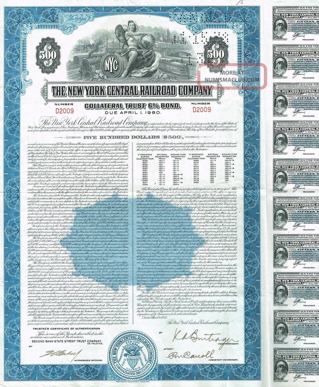 Usa York Central Railroad Company Bond Stock Certificate World photo