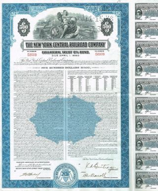 Usa York Central Railroad Company Bond Stock Certificate photo
