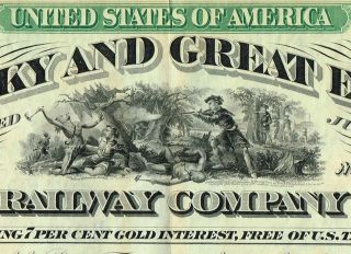 Usa Kentucky & Great Eastern Railway Company Bond Stock Certificate 1872 photo