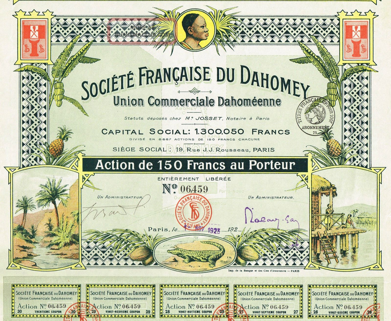 Africa Dahomey Commercial Union Stock Certificate Rare 150 Francs Version World photo