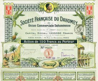 Africa Dahomey Commercial Union Stock Certificate Rare 150 Francs Version photo