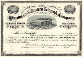 187_ Cincinnati & Eastern Telegraph Co Stock Certificate photo