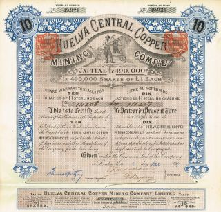 Spain Huelva Central Copper Stock Certificate 1901 10sh photo