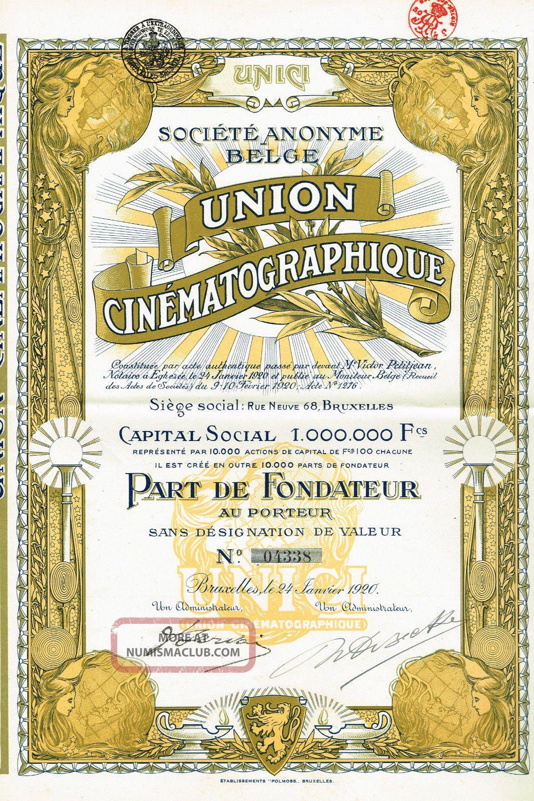 Belgium Union Cinematography Stock Certificate 1920 World photo