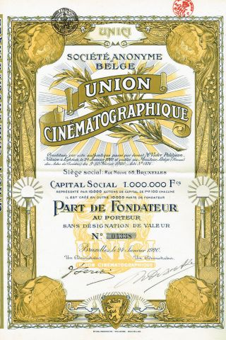 Belgium Union Cinematography Stock Certificate 1920 photo
