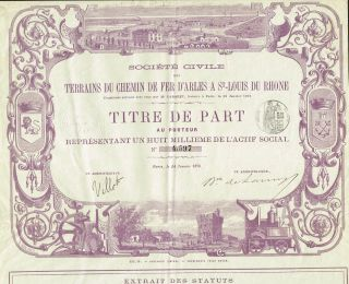 France Railway Arles,  Stlouis And Rhone Stock Certificate 1878 Beauty photo