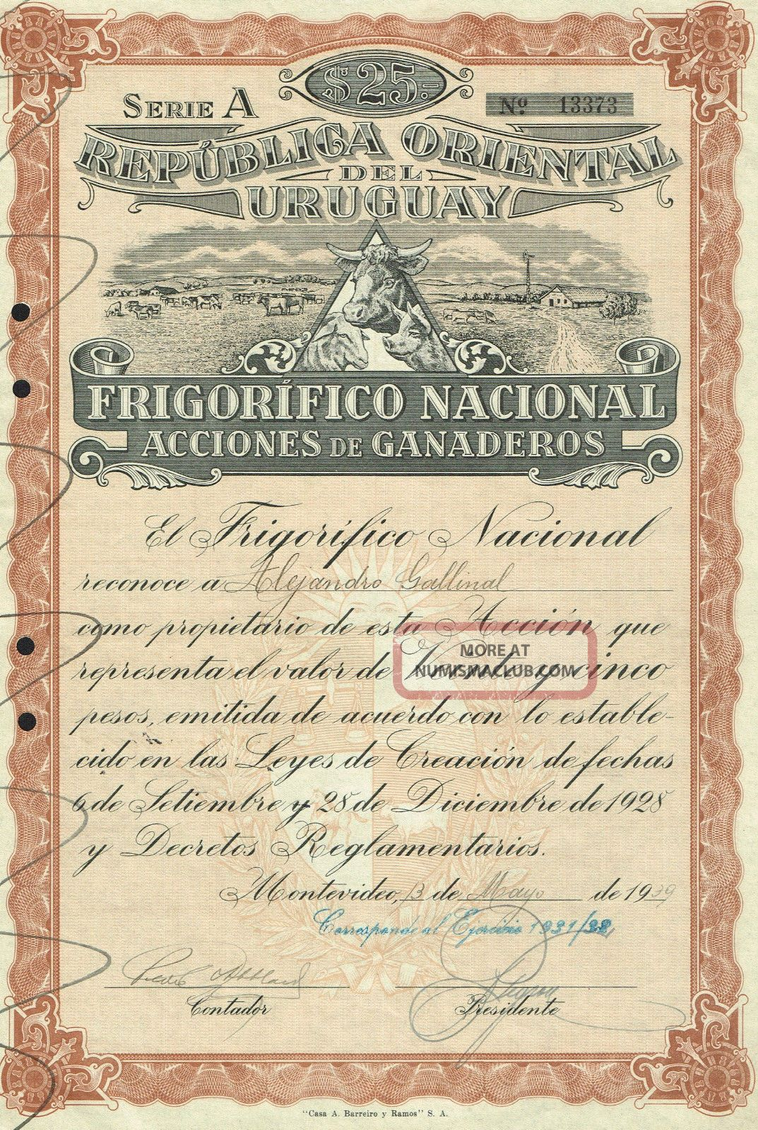Uruguay Farm & Refrigeration Company Stock Certificate Montevideo 1939 World photo