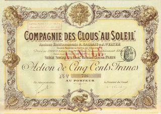 France Hardware Company Stock Certificate 1896 Clous Au Soleil photo
