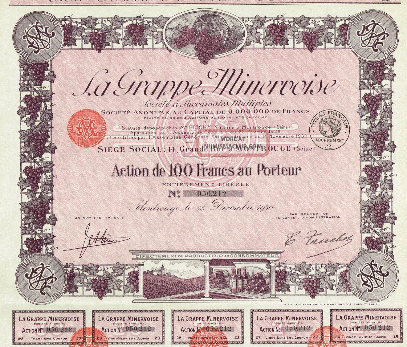 France Wine Stock Certificate La Grappe Minervoise 1930 World photo