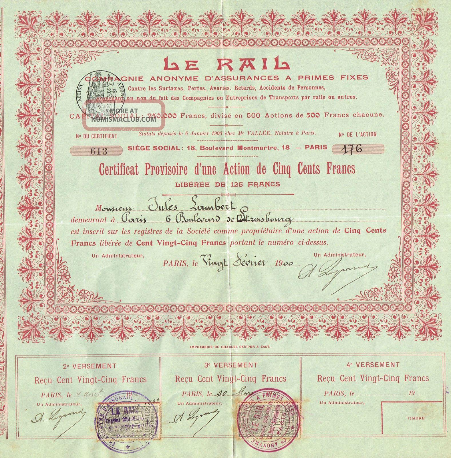 France Liability Insurance Company Stock Certificate 190o Le Rail World photo