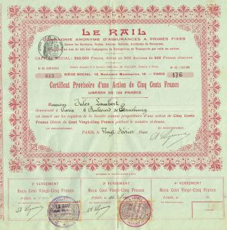 France Liability Insurance Company Stock Certificate 190o Le Rail photo