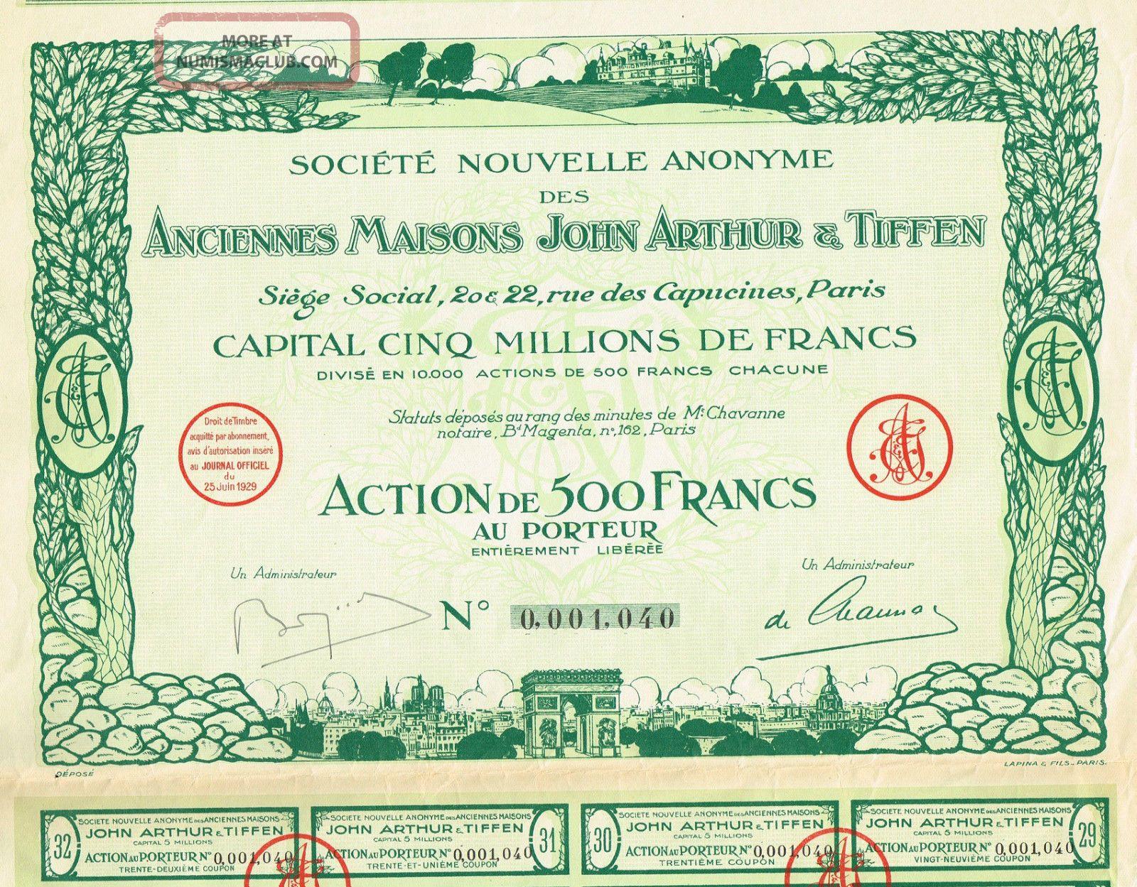 France Real Estate Company Stock Certificate 1929 John Arthur & Tiffen World photo