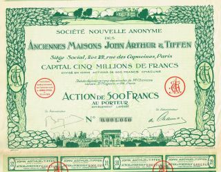 France Real Estate Company Stock Certificate 1929 John Arthur & Tiffen photo